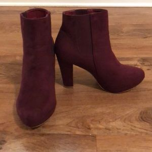 Bella Marie Cranberry/Wine Suede Slip On Booties